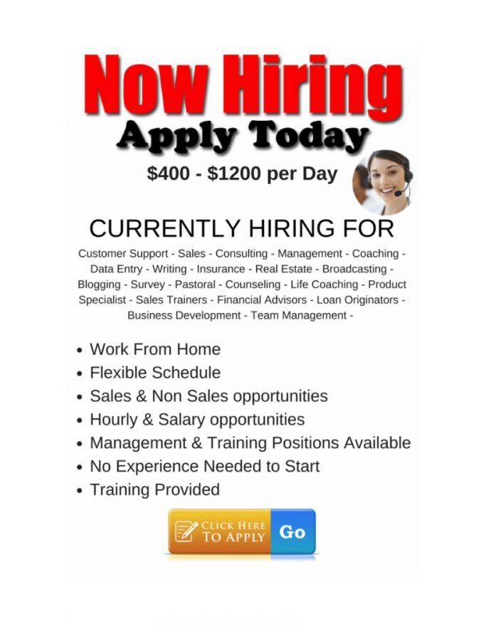 Now Hiring Apply Today