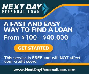 Next Day Personal Loan, from $100 - $40,000